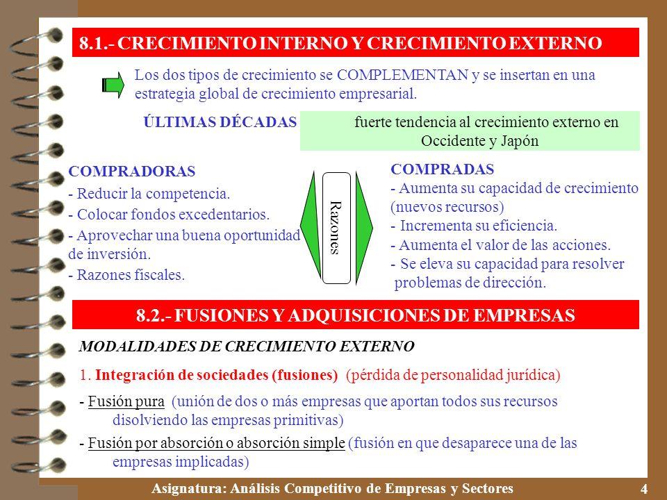 8.2.- FUSIONES Y ADQUISICIONES DE EMPRESAS