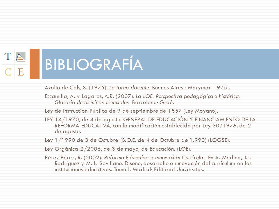BIBLIOGRAFÍA Avolio de Cols, S. (1975). La tarea docente. Buenos Aires : Marymar, 1975 .