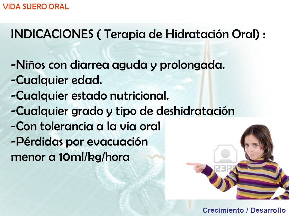 INDICACIONES ( Terapia de Hidratación Oral) :