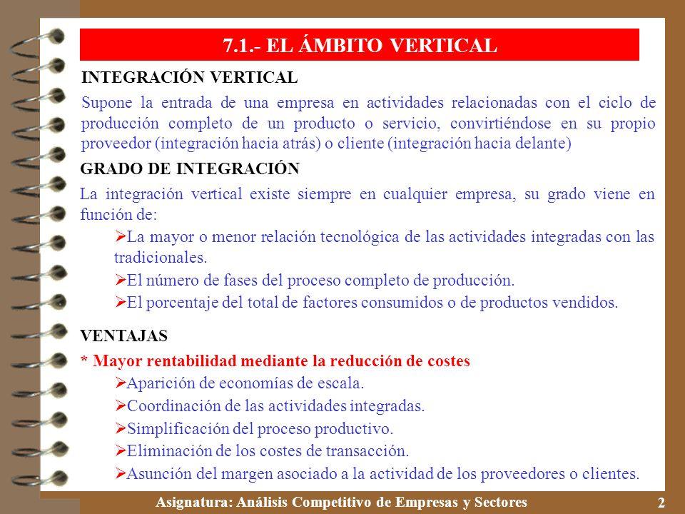 7.1.- EL ÁMBITO VERTICAL INTEGRACIÓN VERTICAL