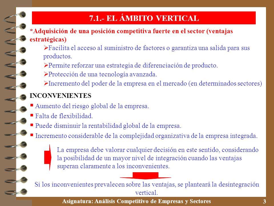 7.1.- EL ÁMBITO VERTICAL *Adquisición de una posición competitiva fuerte en el sector (ventajas estratégicas)