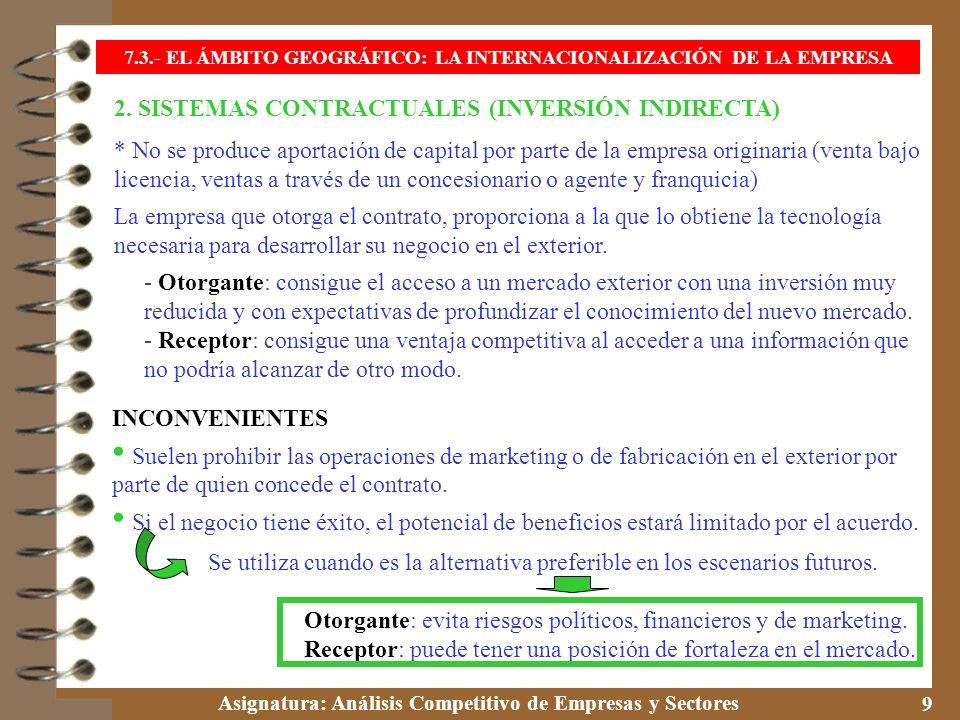 7.3.- EL ÁMBITO GEOGRÁFICO: LA INTERNACIONALIZACIÓN DE LA EMPRESA