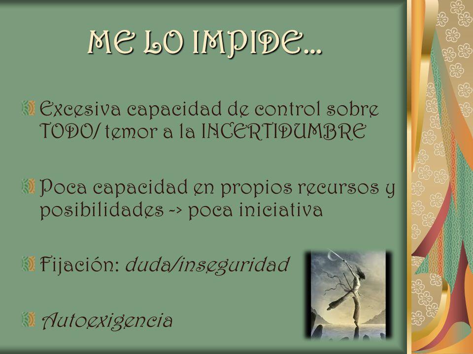 ME LO IMPIDE… Excesiva capacidad de control sobre TODO/ temor a la INCERTIDUMBRE.