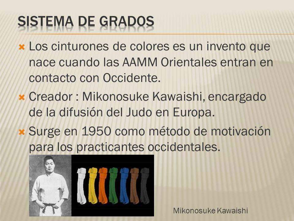SISTEMA DE GRADOS Los cinturones de colores es un invento que nace cuando las AAMM Orientales entran en contacto con Occidente.