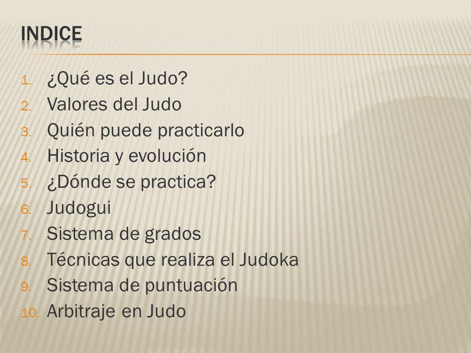 INDICE ¿Qué es el Judo Valores del Judo Quién puede practicarlo