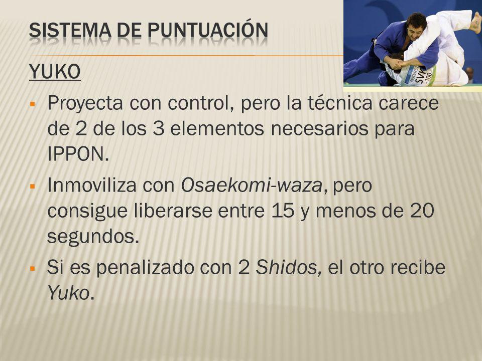 SISTEMA DE PUNTUACIÓN YUKO. Proyecta con control, pero la técnica carece de 2 de los 3 elementos necesarios para IPPON.