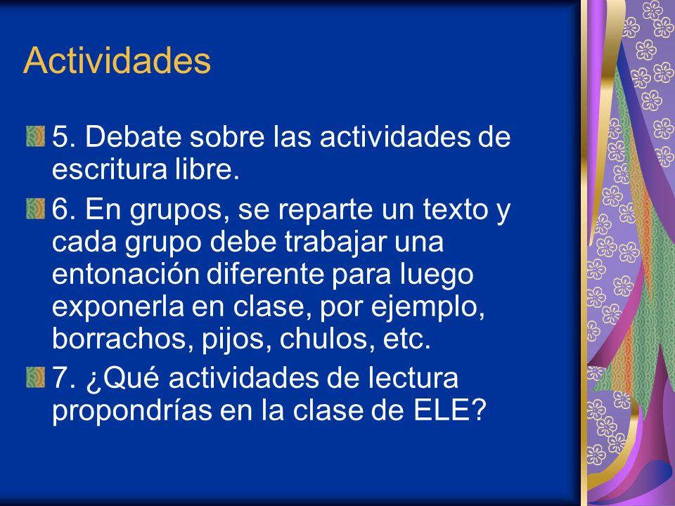 Actividades 5. Debate sobre las actividades de escritura libre.