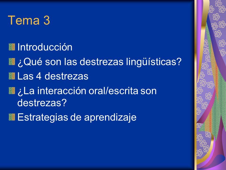 Tema 3 Introducción ¿Qué son las destrezas lingüísticas