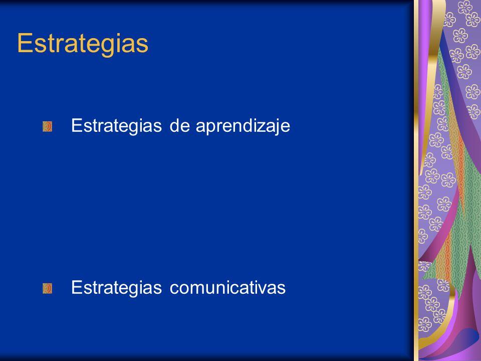 Estrategias Estrategias de aprendizaje Estrategias comunicativas