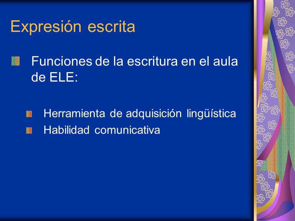 Expresión escrita Funciones de la escritura en el aula de ELE: