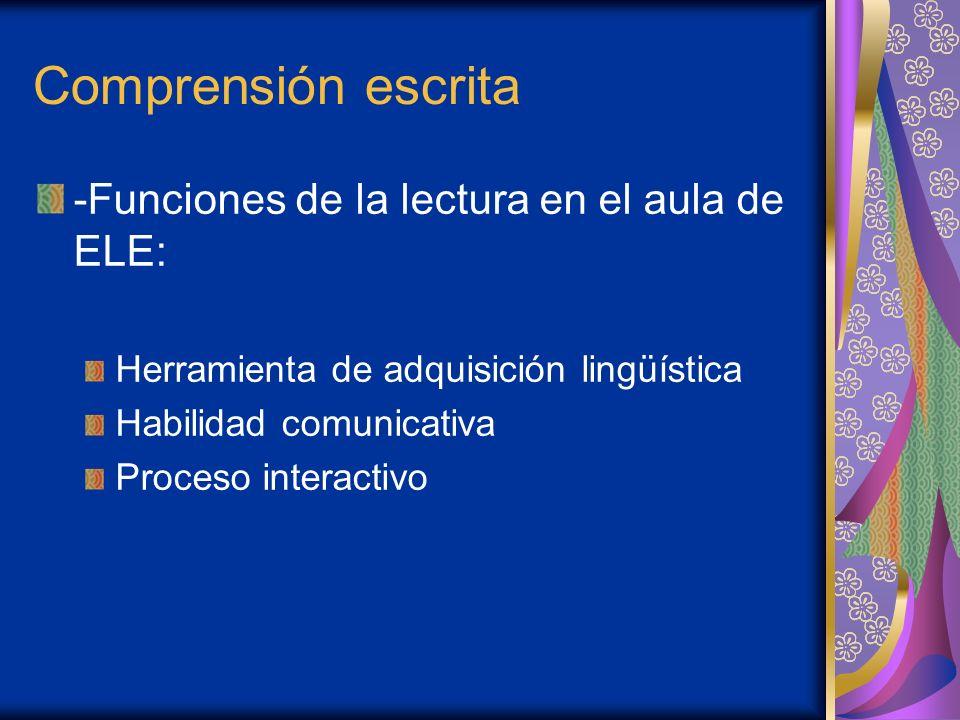 Comprensión escrita -Funciones de la lectura en el aula de ELE: