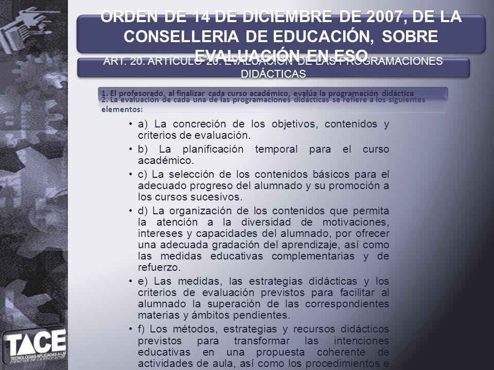 ART. 20. ARTÍCULO 20. EVALUACIÓN DE LAS PROGRAMACIONES DIDÁCTICAS
