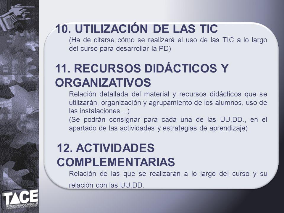 11. RECURSOS DIDÁCTICOS Y ORGANIZATIVOS