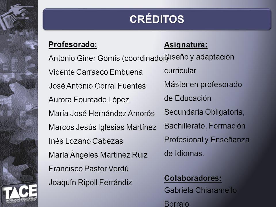 CRÉDITOS Profesorado: Asignatura: Antonio Giner Gomis (coordinador)