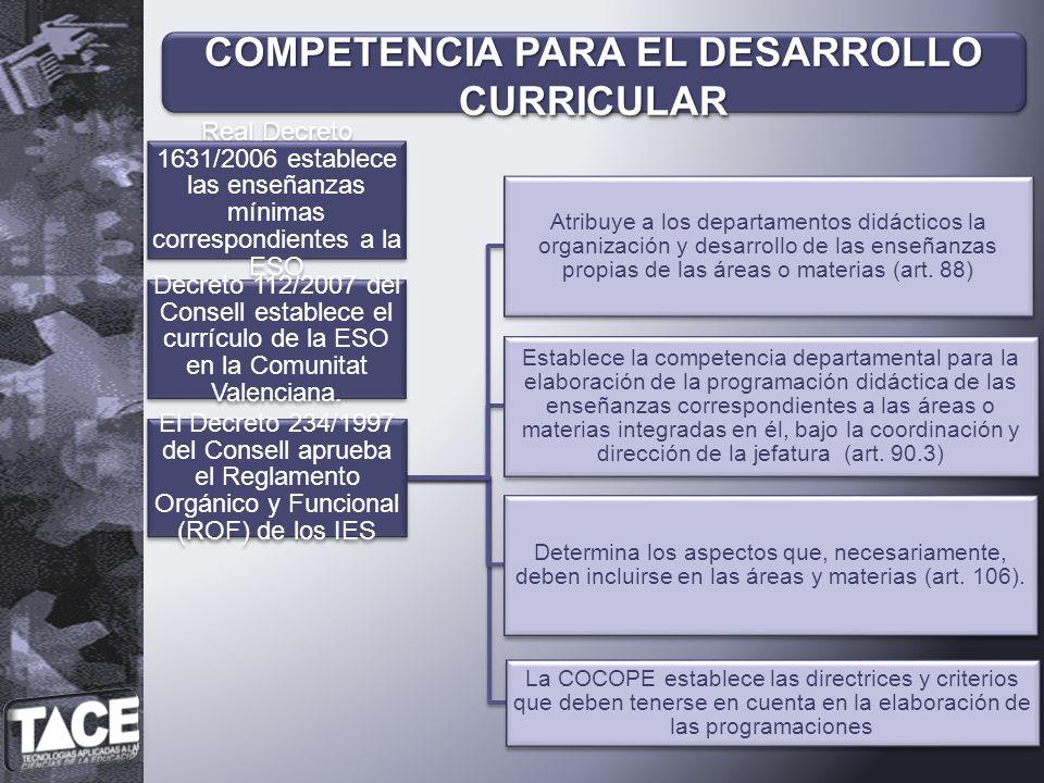 COMPETENCIA PARA EL DESARROLLO CURRICULAR