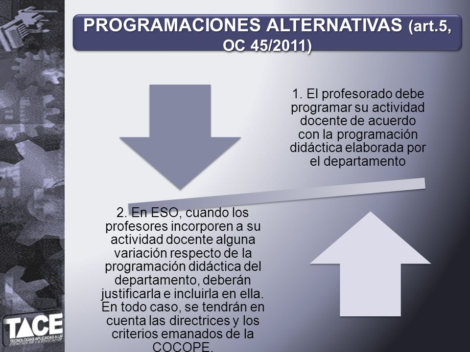PROGRAMACIONES ALTERNATIVAS (art.5, OC 45/2011)