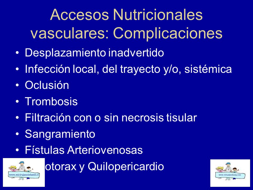 Accesos Nutricionales vasculares: Complicaciones