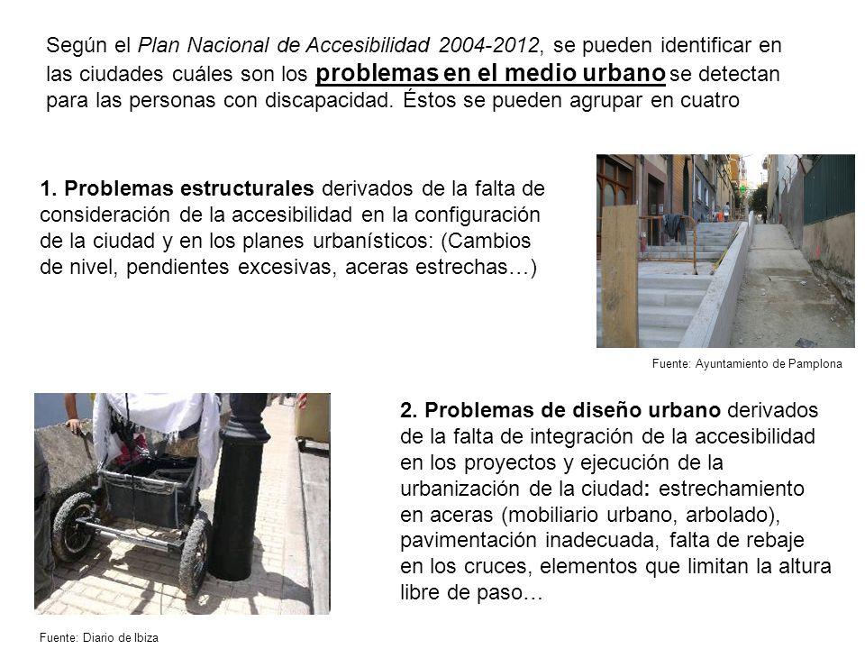 Según el Plan Nacional de Accesibilidad 2004-2012, se pueden identificar en las ciudades cuáles son los problemas en el medio urbano se detectan para las personas con discapacidad. Éstos se pueden agrupar en cuatro