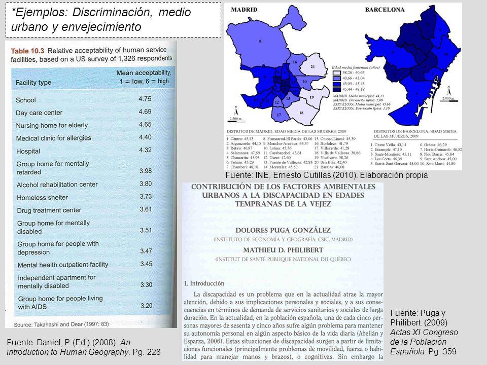 *Ejemplos: Discriminación, medio urbano y envejecimiento