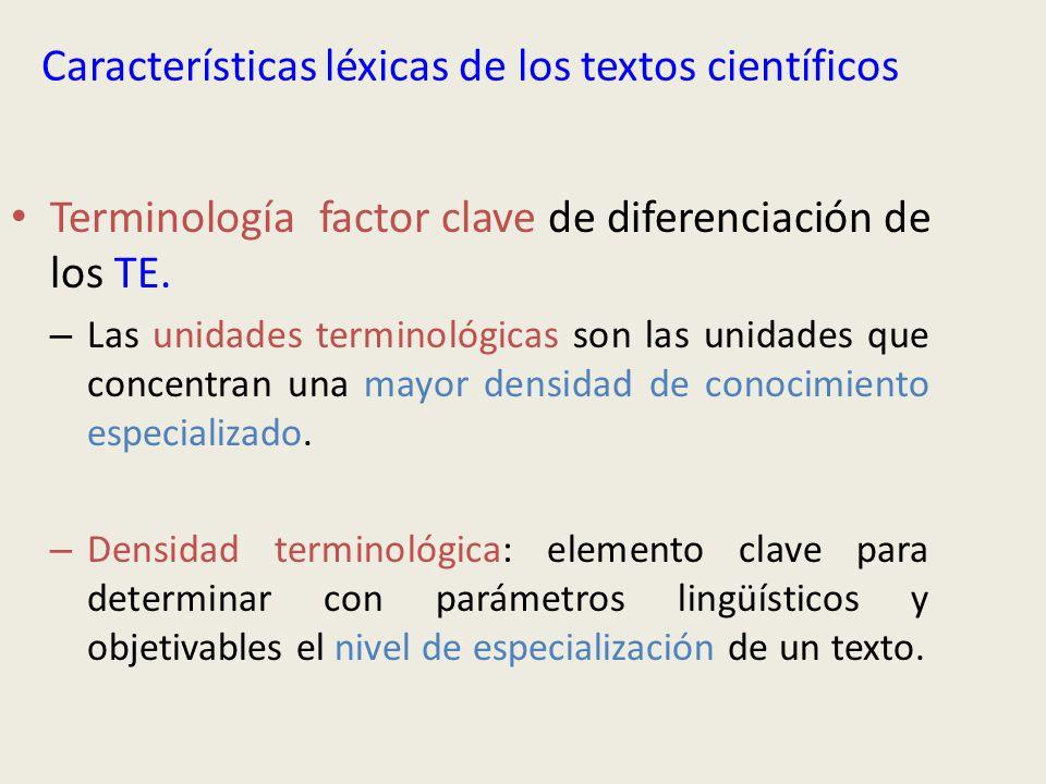 Características léxicas de los textos científicos