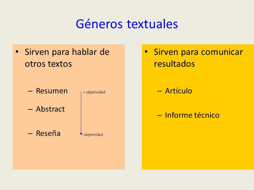 Géneros textuales Sirven para hablar de otros textos