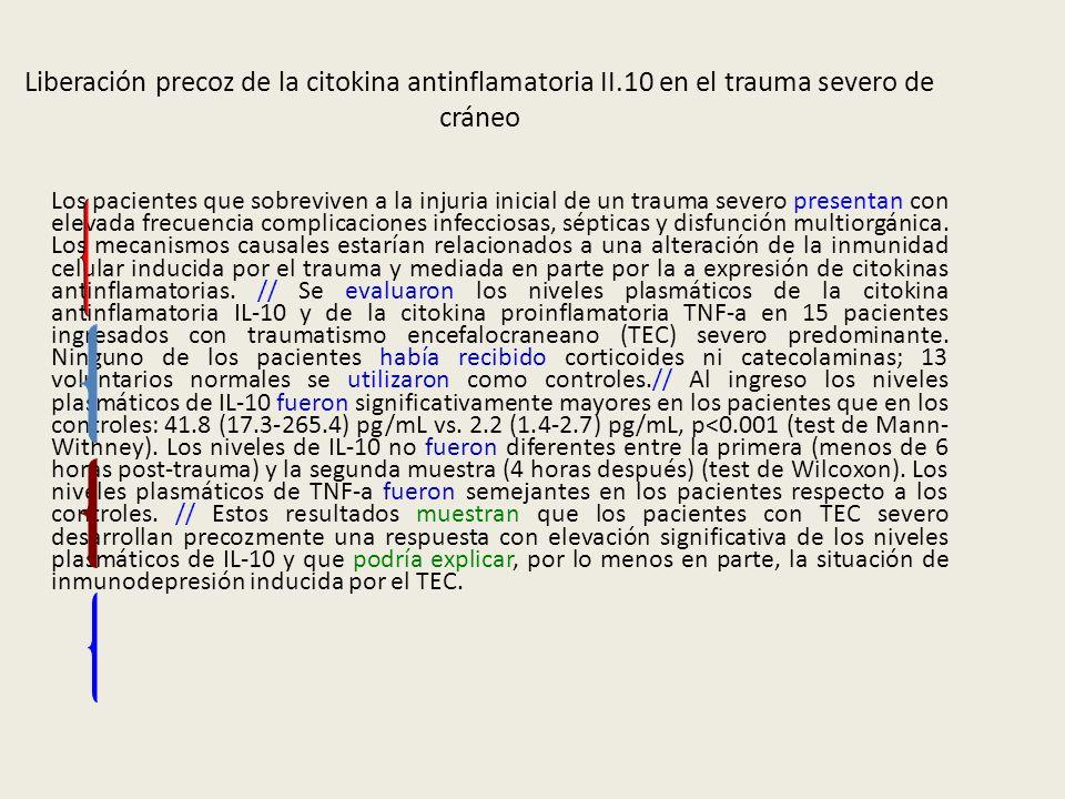 Liberación precoz de la citokina antinflamatoria II