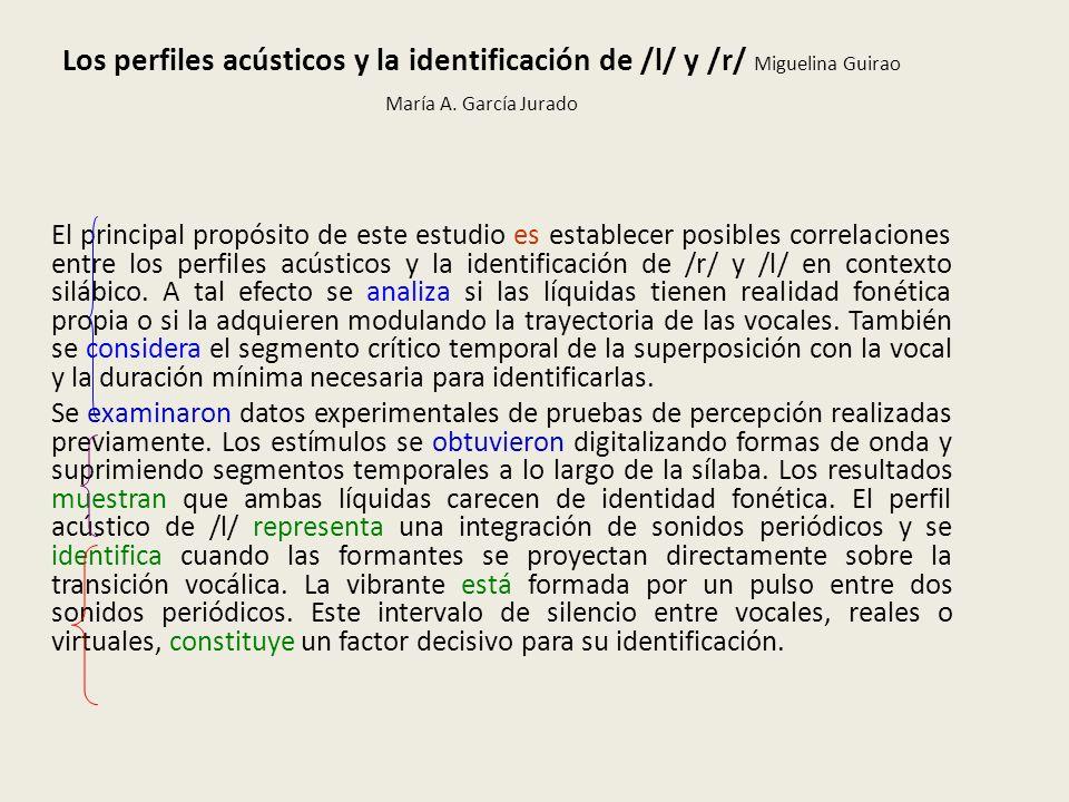 Los perfiles acústicos y la identificación de /l/ y /r/ Miguelina Guirao María A. García Jurado