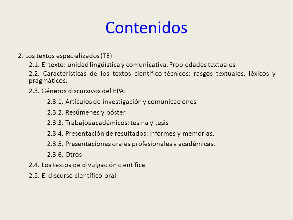 Contenidos 2. Los textos especializados (TE)
