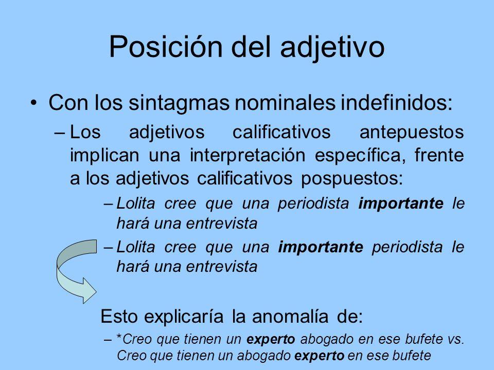 Posición del adjetivo Con los sintagmas nominales indefinidos: