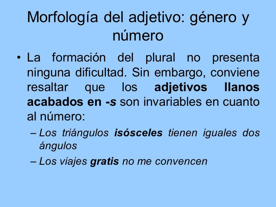 Morfología del adjetivo: género y número