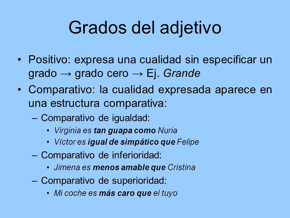Grados del adjetivo Positivo: expresa una cualidad sin especificar un grado → grado cero → Ej. Grande.