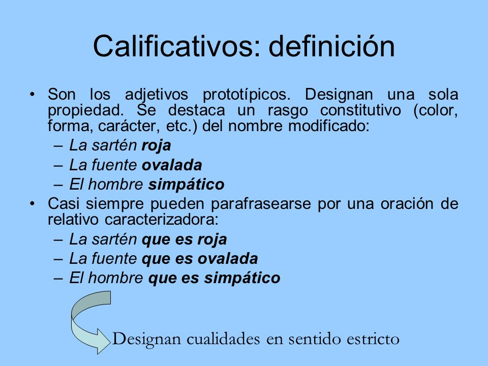 Calificativos: definición