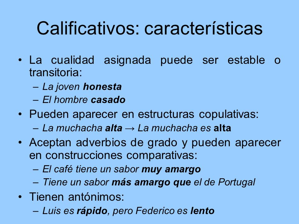 Calificativos: características
