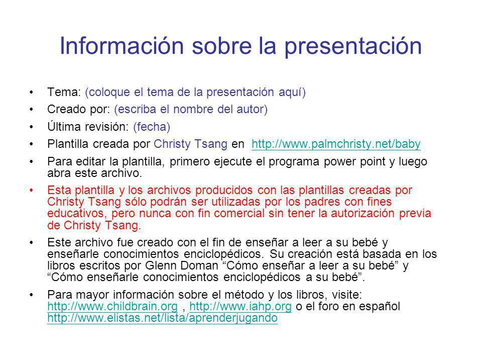 Información sobre la presentación