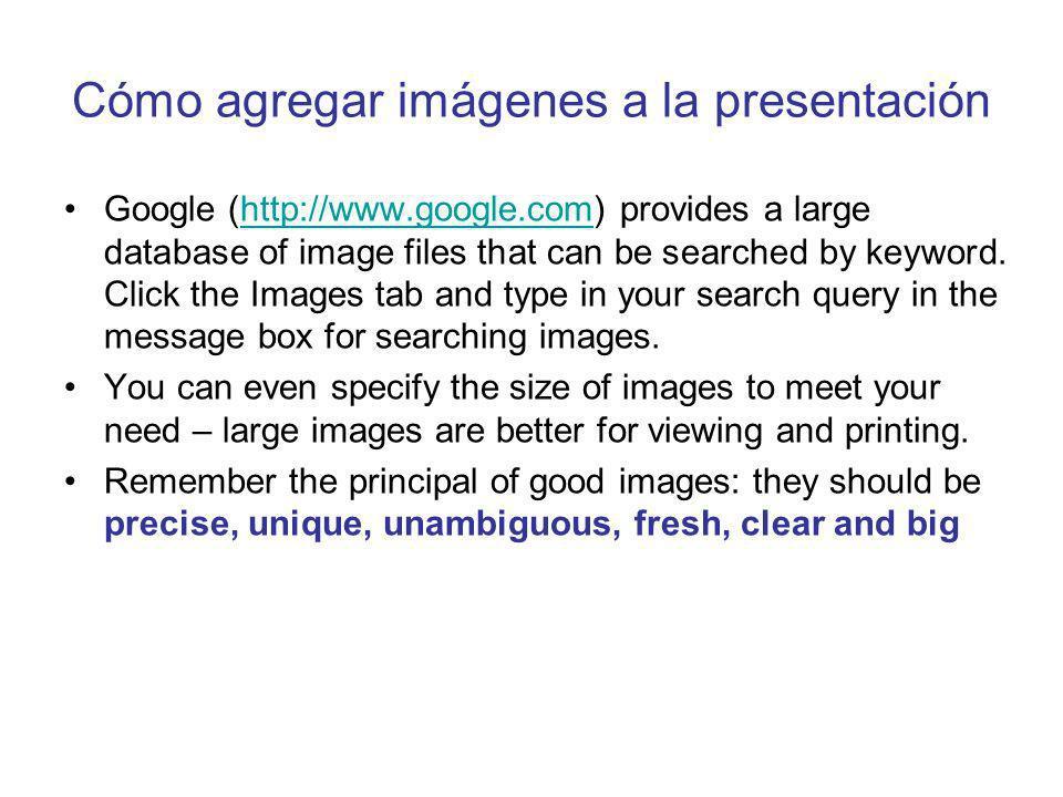 Cómo agregar imágenes a la presentación