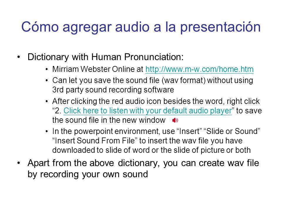 Cómo agregar audio a la presentación