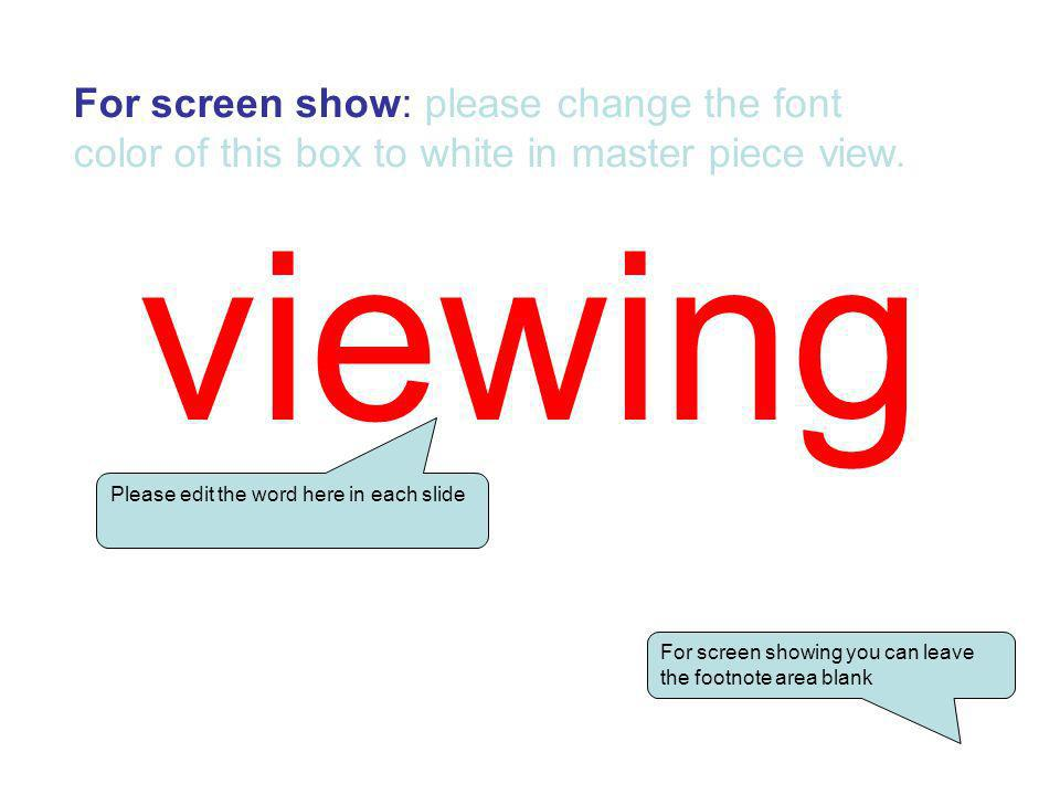 For screen show: please change the font color of this box to white in master piece view.