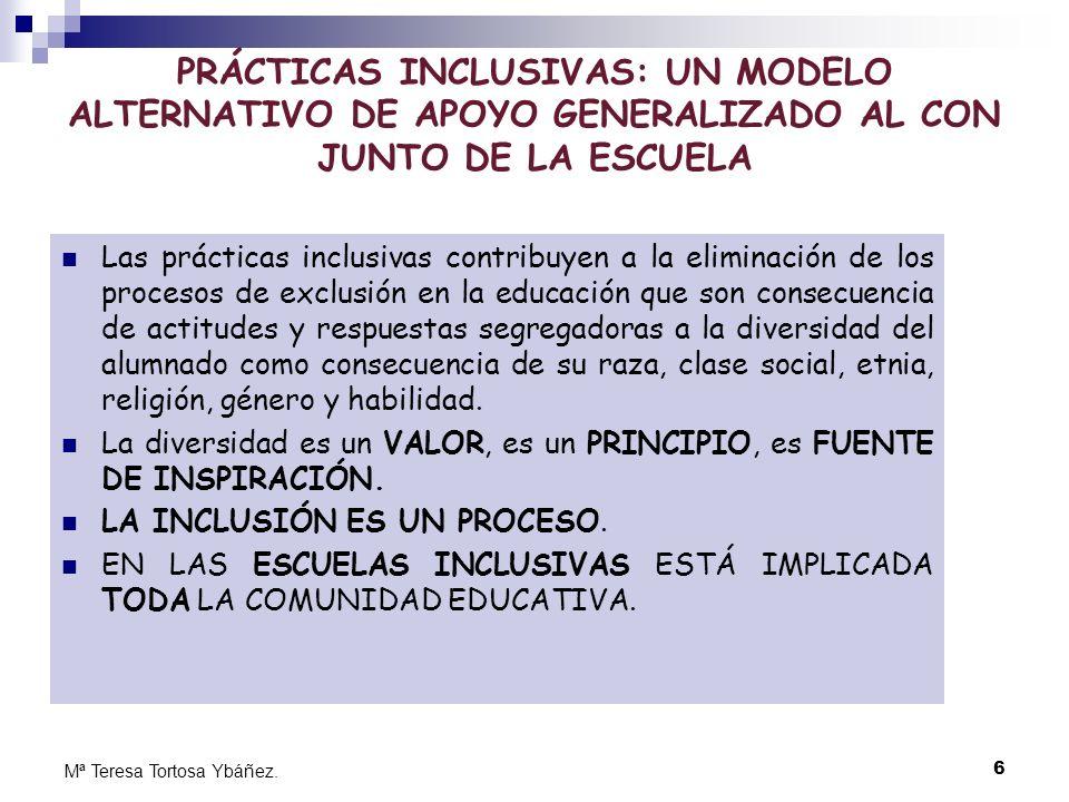 PRÁCTICAS INCLUSIVAS: UN MODELO ALTERNATIVO DE APOYO GENERALIZADO AL CON JUNTO DE LA ESCUELA