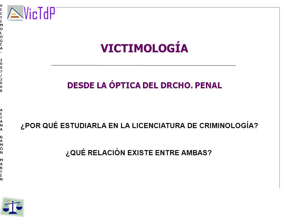 VICTIMOLOGÍA DESDE LA ÓPTICA DEL DRCHO. PENAL