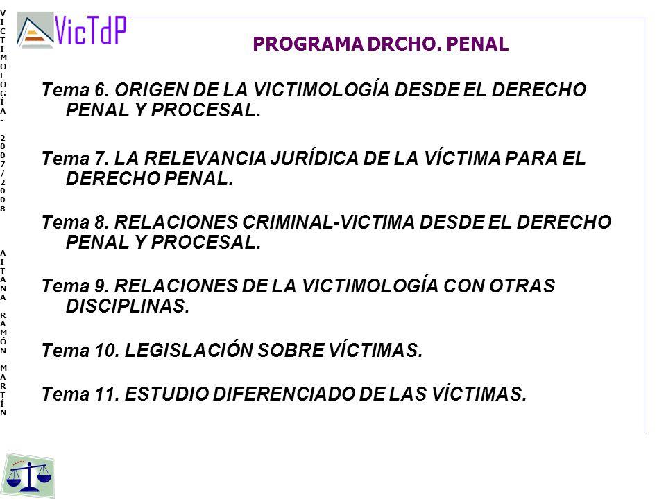 Tema 6. ORIGEN DE LA VICTIMOLOGÍA DESDE EL DERECHO PENAL Y PROCESAL.