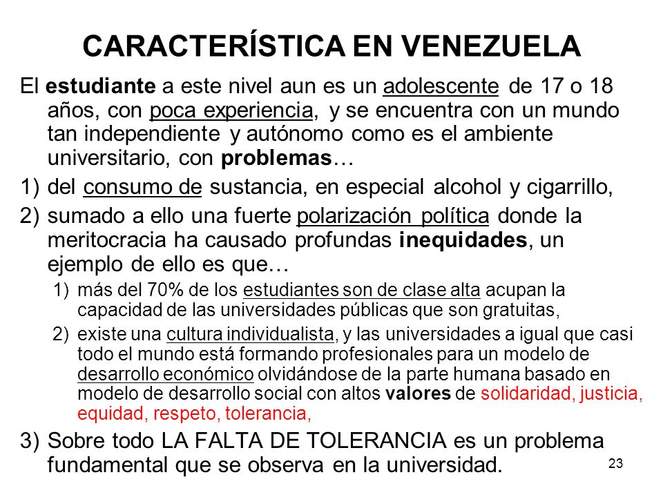 CARACTERÍSTICA EN VENEZUELA