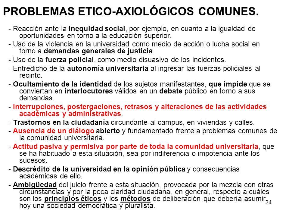 PROBLEMAS ETICO-AXIOLÓGICOS COMUNES.