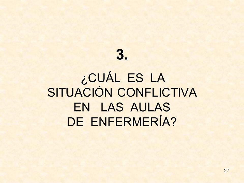 3. ¿CUÁL ES LA SITUACIÓN CONFLICTIVA EN LAS AULAS DE ENFERMERÍA