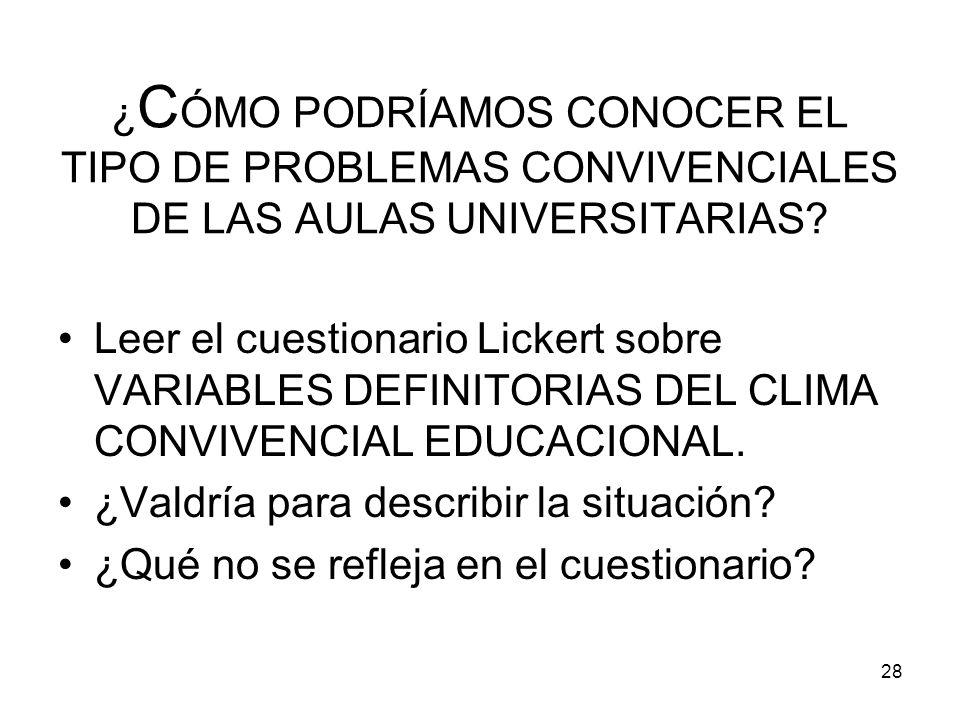 ¿CÓMO PODRÍAMOS CONOCER EL TIPO DE PROBLEMAS CONVIVENCIALES DE LAS AULAS UNIVERSITARIAS