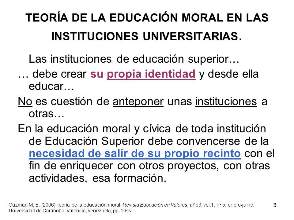 TEORÍA DE LA EDUCACIÓN MORAL EN LAS INSTITUCIONES UNIVERSITARIAS.