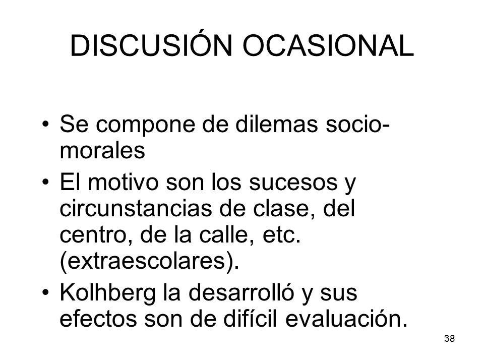 DISCUSIÓN OCASIONAL Se compone de dilemas socio-morales
