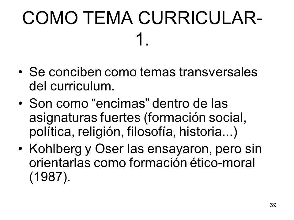 COMO TEMA CURRICULAR-1. Se conciben como temas transversales del curriculum.