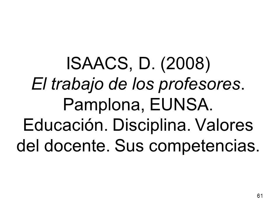 ISAACS, D. (2008) El trabajo de los profesores. Pamplona, EUNSA