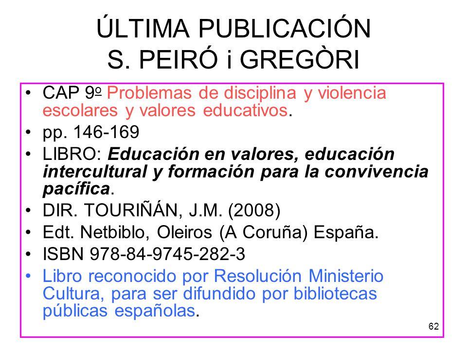 ÚLTIMA PUBLICACIÓN S. PEIRÓ i GREGÒRI
