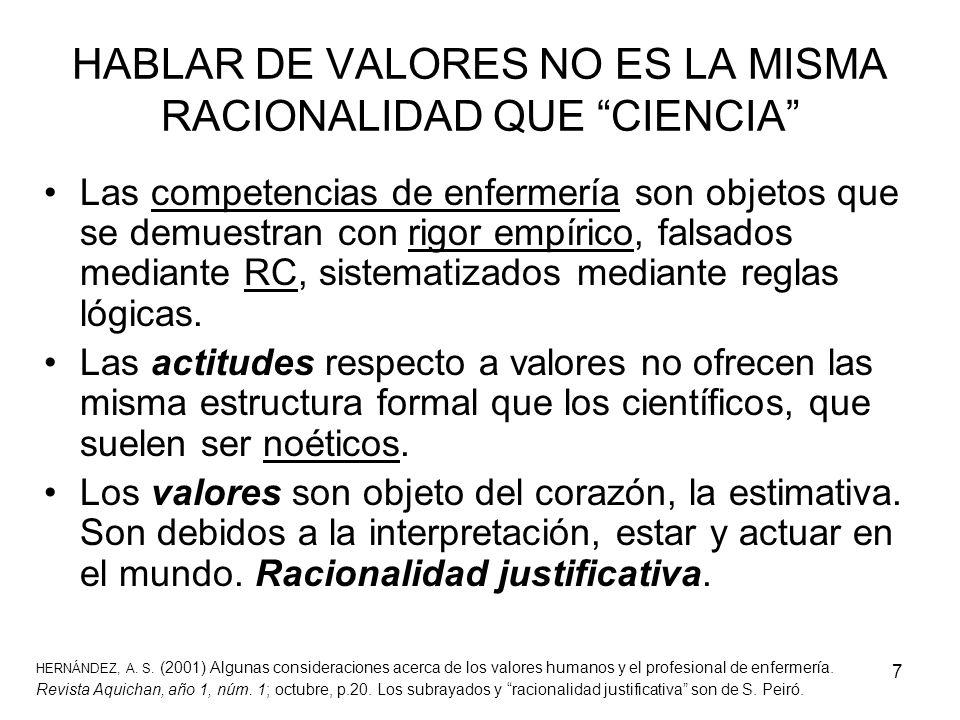 HABLAR DE VALORES NO ES LA MISMA RACIONALIDAD QUE CIENCIA